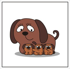 mother and child, cartoon mama dog and three little puppy