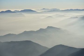 Fog in the valley in the morning
