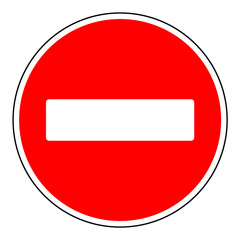 Do not enter blank sign. Warning red circle icon isolated on white background. Prohibition concept. No traffic street symbol. Vector illustration