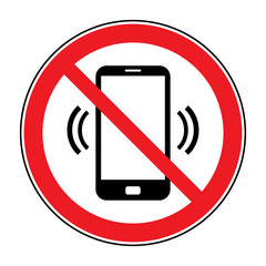 No cell phone sign. Mobile phone ringer volume mute sign. No smartphone allowed icon. No Calling label on white background. No Phone emblem great for any use. Stock Vector Illustration