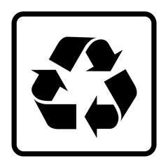 Recycle sign of conservation black icon isolated on white background. Recycling symbol on the packaging. Vector