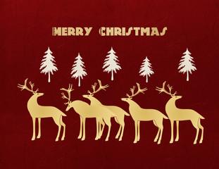 クリスマスカード モミの木とトナカイの群れ