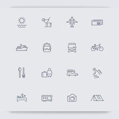 Travel, tourism, trip, recreation, vacation thin line icons, vector illustration