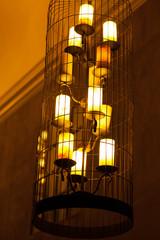 Big orange light lamp electricity hanging decorate home interior