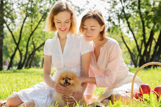 In park with loving pet