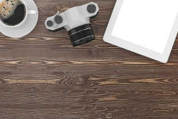 camera and coffee on table, workplace, top view
