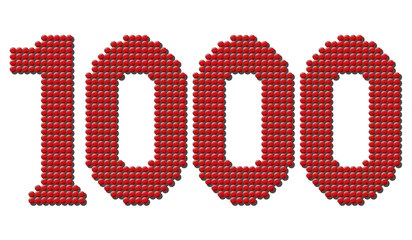 Thousand red round tokens representing number THOUSAND. Isolated vector illustration over white background.