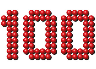 Hundred red balls arranging number HUNDRED. Isolated vector illustration on white background.