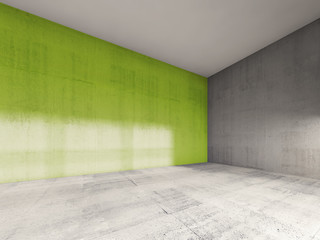 3d interior, empty room with green concrete wal