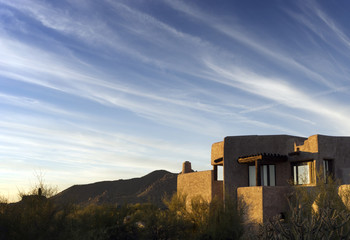 Adobe style desert South West architecture beautiful Arizona sky
