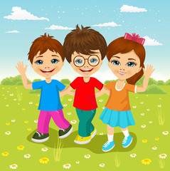 happy caucasian children walking together