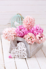 Flowers and decorative heart. Love concept.