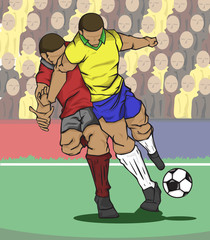 Vector illustration two players fighting for the ball and fan ball background