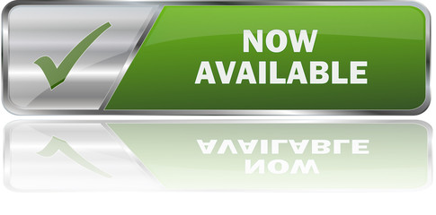 NOW AVAILABLE / realistic modern glossy 3D vector eps banner in green with metallic border and checkmark