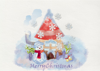 Christmas greeting card with snowmen and his house, sitting in the snow. Watercolor illustration.