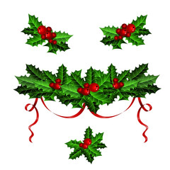 Decorative elements with Christmas holly set