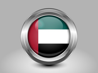 Flag of United Arab Emirates. Metal Round Icon