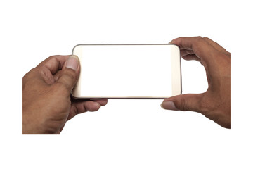Smart phone white screen in hand isolated, Clipping path