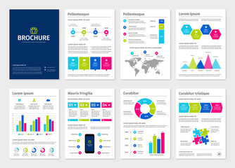 Business colorful A4 brochures with infographic vector elements.