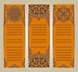 Vector set of banners or cards in vintage ornamental style. Decorative oriental ornaments