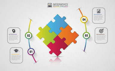 Puzzle piece infographics business concept. Modern design template. Vector