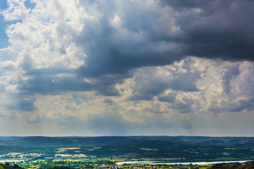 Clouds on countryside