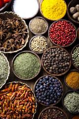 Photo sur Aluminium Herbe, epice Exotic Spices, orintal cuisine vivid theme