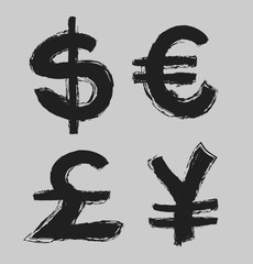 currency symbols and money coins, dollar, euro, yen and pound