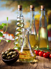 Olive oil and olives, Mediterranean rural theme
