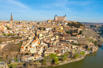 Panorama of Toledo from a high point on a sunny day.
