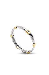 silver bracelet with gold hearts on a white background