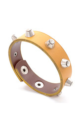 leather bracelet with studs on a white background
