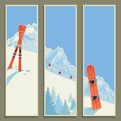 Set of banners with retro winter landscape, vector illustration, eps10.