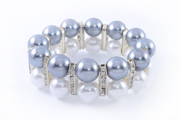 bracelet with pearls isolated on white