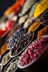 Fototapete - Spices on wooden bowl background
