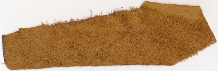 Isolated old genuine leather underside on a white background