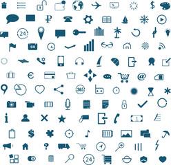 Набор иконок для телефона, интернета и отдыха