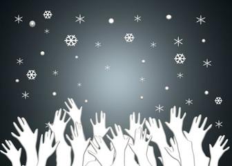 Manos, copos de nieve, nevando, ilustración, fondo