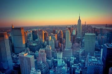 Wall Mural - Beautiful New York City seen from above at sunset