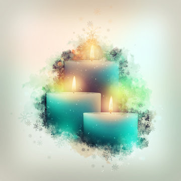 Three blue candles. Christmas. Watercolor background.