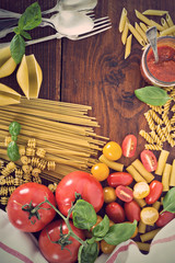 Variety of pasta and tomatoes