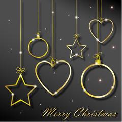 """anelli dorati a forma di palline, cuori ed stelle con iscrizione """"Merry Christmas"""