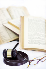 Law concept, gavel, books and glasses