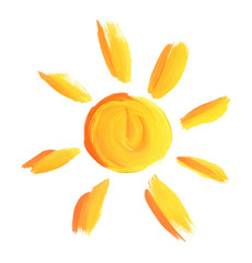 The sun painted by gouache
