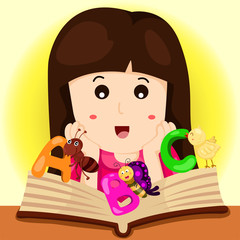Illustrator of girl read book and ABC