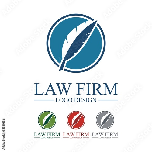 Law Firm Logo, Law Firm Feather Design Logo Vector