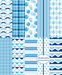 Repeating patterns for digital paper, scrapbooking, cards, invitations, and paper backgrounds. File includes: mustache print, gingham/plaid, polka dots, stripes, chevron, argyle and more.