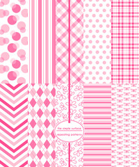 Repeating patterns for digital paper, scrapbooking, cards, invitations, and paper backgrounds. File includes: flower print, butterfly print, gingham/plaid, polka dots, stripes, chevron and argyle.