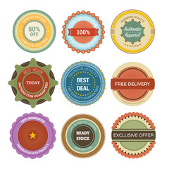 Colorful vintage badge with lot of variation
