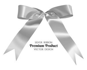 Silver ribbon and bow.